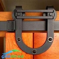 4.9FT/6FT/6.6FT nero acciaio Al Carbonio interni in legno accessori per porte scorrevoli