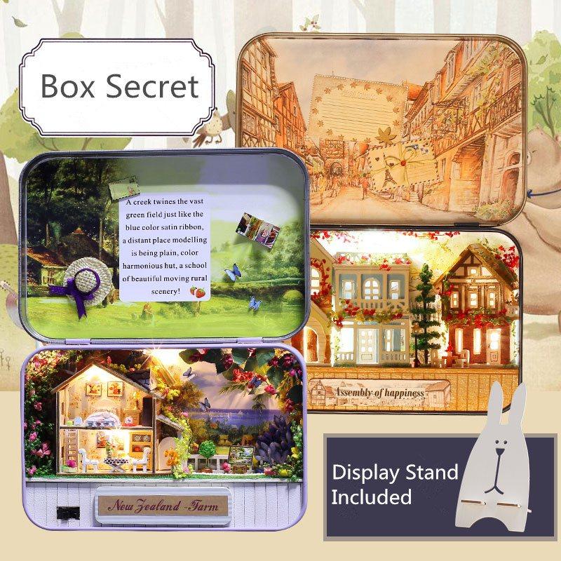 iie create T-006 Happiness T-007 New Zealand Farm DIY Tin Box Secret Dollhouse Miniature Gift For Children Friends