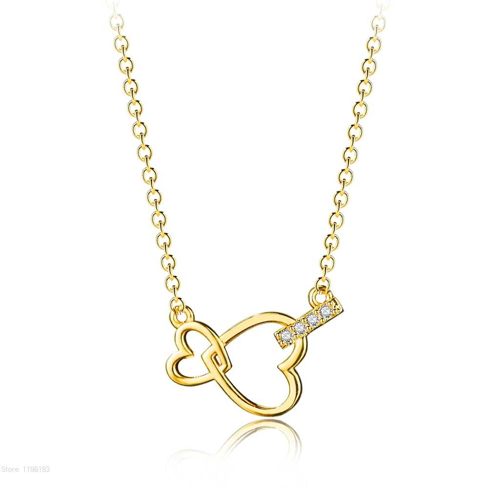 หัวใจคู่สร้อยคอจี้สำหรับสตรีเครื่องประดับเพื่อนเจ้าสาวของขวัญ Gold Chain Link สี Bijoux Femme Collier Choker