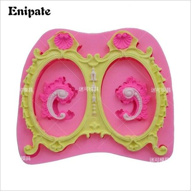 Enipate Europese ovale frame silicone mold Grote Dubbele Frames Silicone Mold Fondant Cake Bakken Tools Bruiloft Cupcake Mould