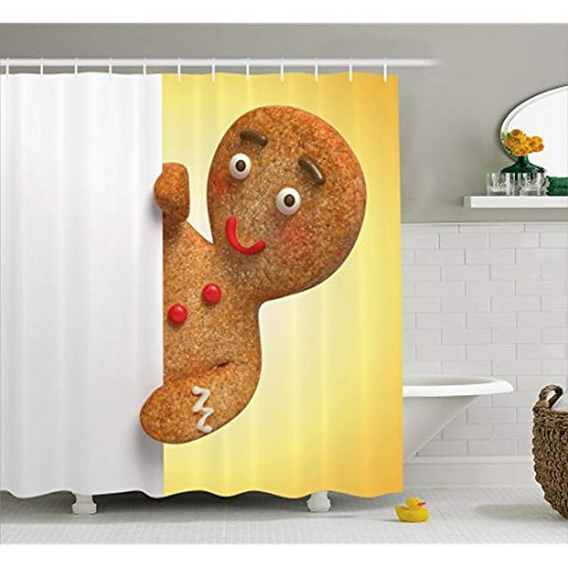 Vixm Gingerbread Man Shower Curtain Figure Holding A White Page Funny Xmas Character Fabric Bath Curtains