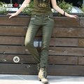 2016 Free Army Brand Military Pants Women Stylish Solid Capris Green Breathable Cotton Fabric Regular Long Trousers Gk-9508A