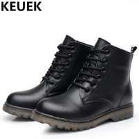 NEW Autumn Winter Children Boots Boys Genuine Leather Motorcycle Boots Girls Snow Boots Baby Ankle Boots