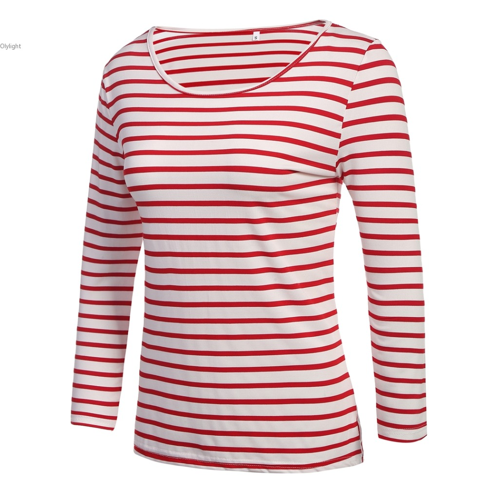 Clothing women red and White Striped Tops Pleated long sleeve ...