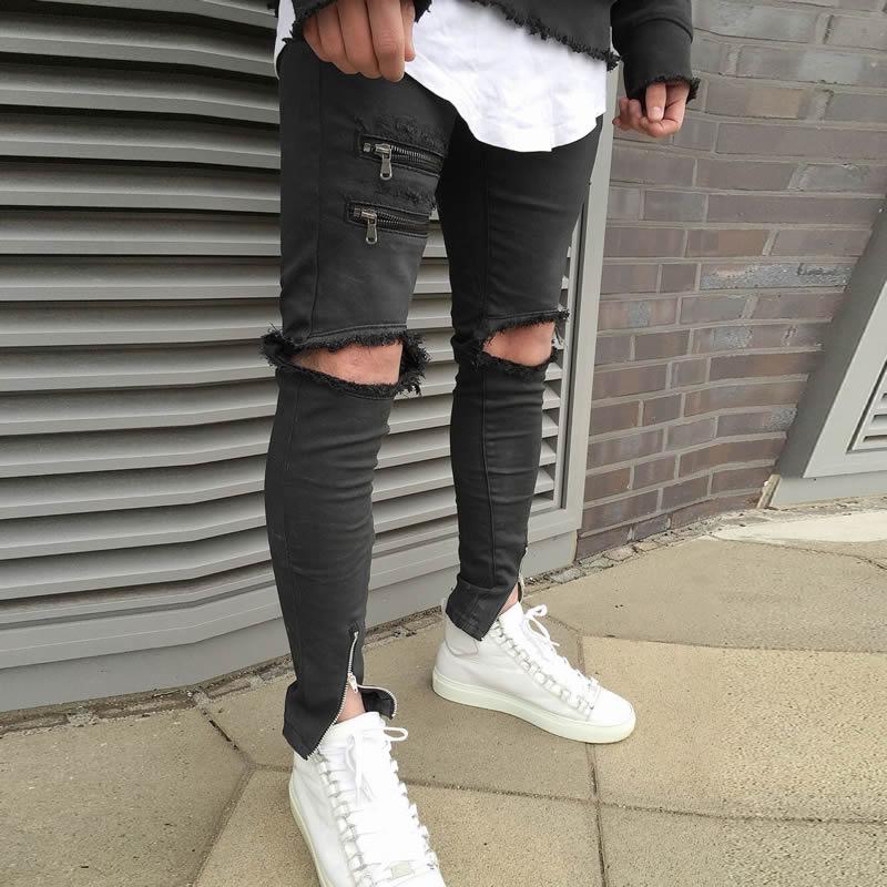 ФОТО black disel 2017 Spring Denim Men Jeans   New ripped corduroy mens fake designer clothes hip hop baggy jeans