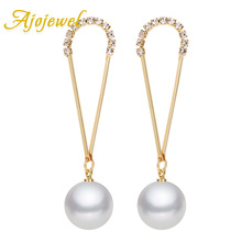 Ajojewel Micro Pave CZ Womens Long Earrings With Simulated Pearl Brass Costume Jewelry Elegant Ladies Gift Wholesale
