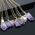 Bohemian Irregular Natural Raw Stone Amethyst Pendant Necklace Geode Birthstone Necklaces For Women