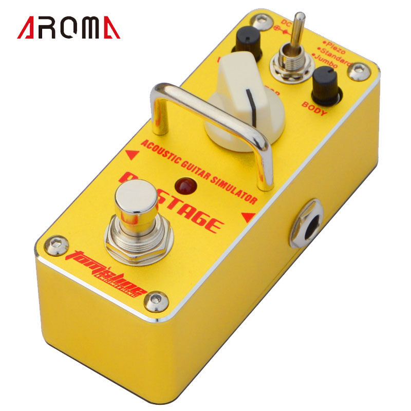 AROMA AAS-3 AC Stage Acoustic Guitar Simulator Mini Single Electric Guitar Effect Pedal with True Bypass sews aroma aov 3 ocean verb digital reverb electric guitar effect pedal mini single effect with true bypass