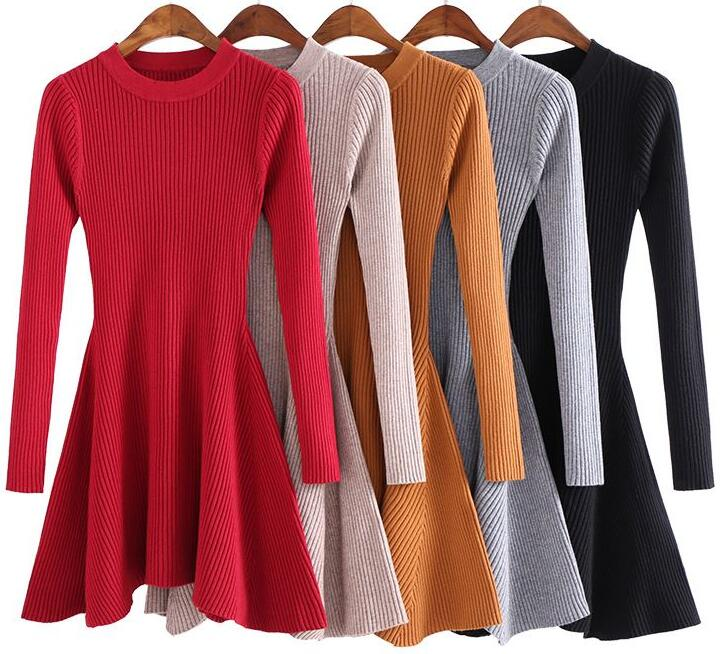 2019 Autumn Winter New Women Sweater Dress Long Sleeve A-Line Thick knitting Mini Dress Slim Short Bodycon Dresses