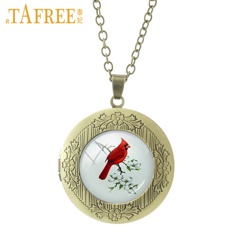 Tafree 2017 new red cardinal locket necklace fashion birds pendant tafree 2017 new red cardinal locket necklace fashion birds pendant for women wedding groom best gifts jewelry t553 aloadofball Image collections