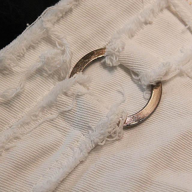 2d6a8e9d6b Bebovizi Summer Denim Shorts Jeans Women Sexy Broken Holes Side Zipper Low  Shorts Cross Micro Shorts for Women