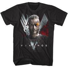 Vikings Ragnar Flaming Eyebrow Mens T Shirt TV Show Lothbrok King Norse Warrior Short Sleeve T-Shirt Free Shipping