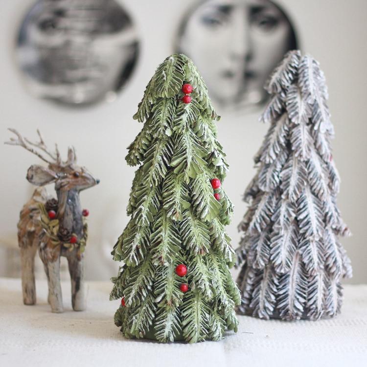Natural Pine Cones Christmas Tree Snowy Handcrafted Navidad 2019 Xmas Tree Table Centerpiece Farmhouse Decor Artifical Bonsai