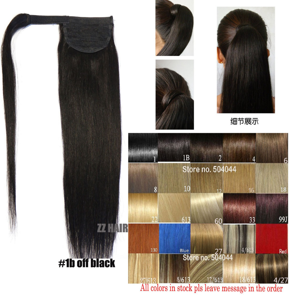 1b Natural Black Remy Human Hair Horse Pony Tail Clip In Ponytail