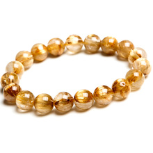 100% Natural Gold Rutilated Quartz Crystal Titanium Woman Man Gemstone Brazil 10mm Round Beads Bracelet Jewelry Bangle AAAA