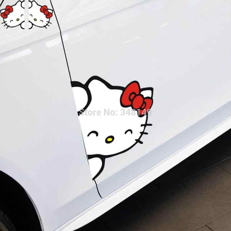 Aliauto 2 × かわいい車の装飾ハローキティサイドドアステッカーとデカールクルーズフォードフォーカスマツダ VW トヨタ起亜現代オペル
