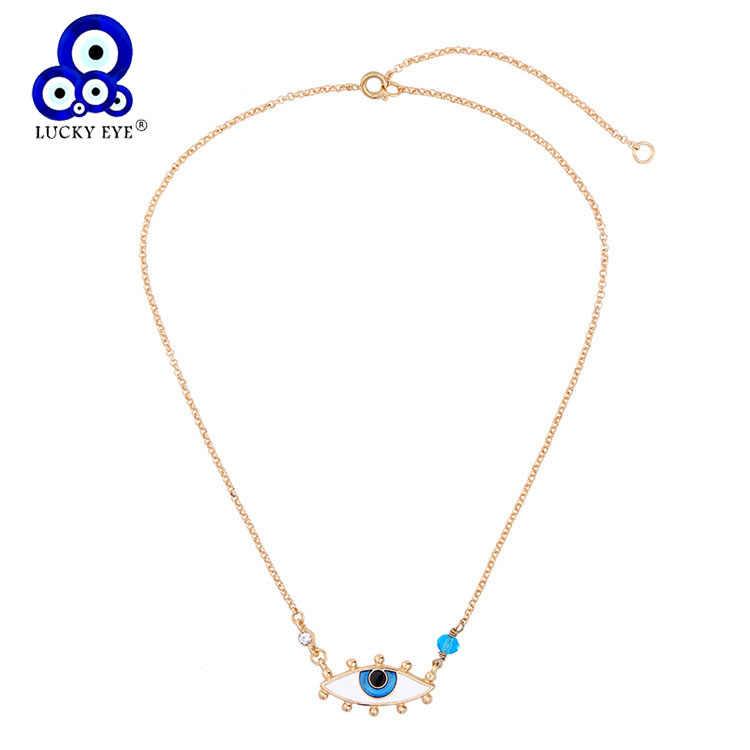 Lucky Eye Drop น้ำมัน Evil Eye จี้สร้อยคอผู้หญิงสีฟ้าสร้อยคอคริสตัลคริสตัลสีทองเครื่องประดับ LE125