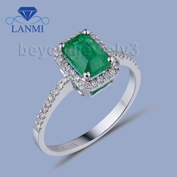 78e16458d452 Natural Esmeralda anillo de oro sólido 18kt oro blanco Esmeralda  colombiana