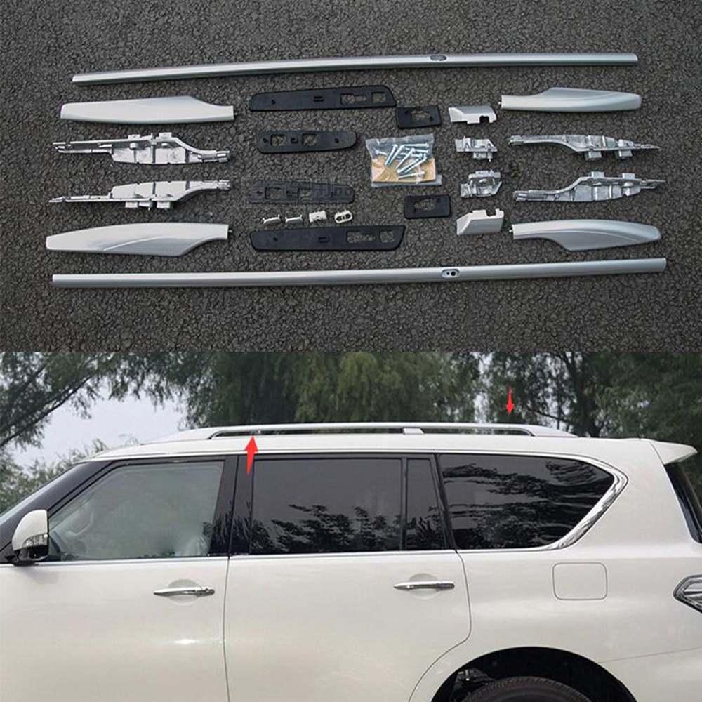 For Nissan Patrol Y62 2010 2017 Roof Rack Bar Rail Luggage Shelf Mount Full Kit Aluminum Alloy Silver