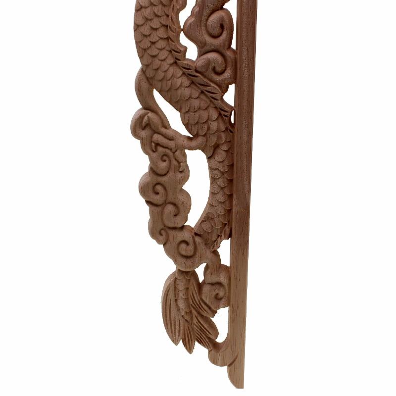 RUNBAZEF Dragon chinois bouddha décoration sculpté bois sculpté coin Applique porte armoire meubles Figurines bois Appliques - 6