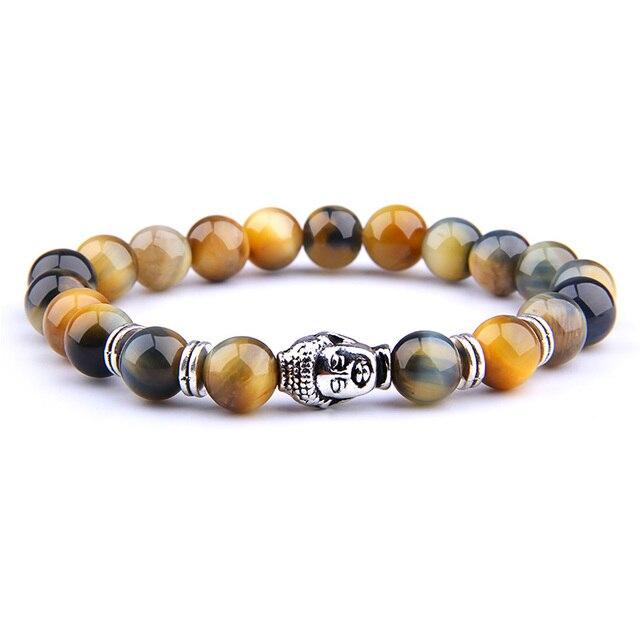 Bracelet oeil de tigre et Tête de Bouddha
