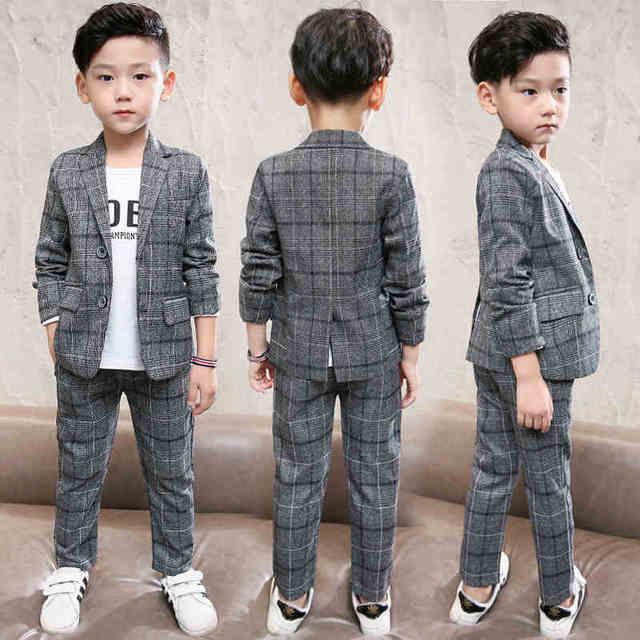 7ed72cbcf95b 2019 Spring Cotton Baby Boys Clothing Sets Children Blazer Jacket + Pants  2PCS Kids Formal Clothes Suits Boys Fashion Clothing