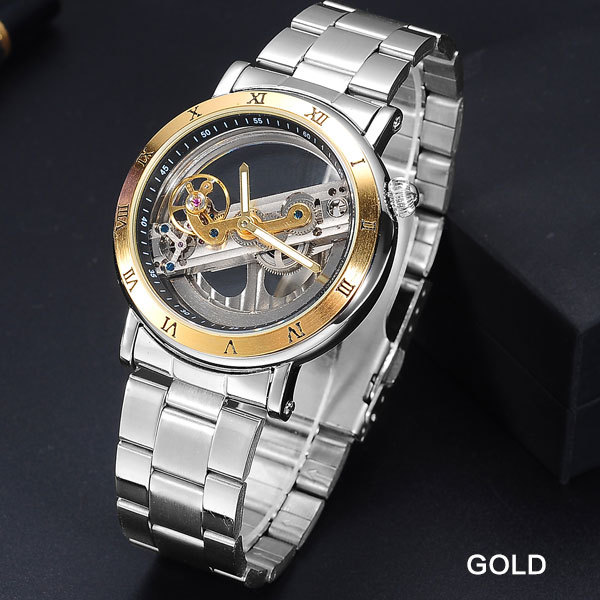 FORSINING Mens Sport Watches Men Full Stainless Steel Skeleton Mechanical Watch Man Creative Self-Wind Clock Relogio Masculino | Fotoflaco.net