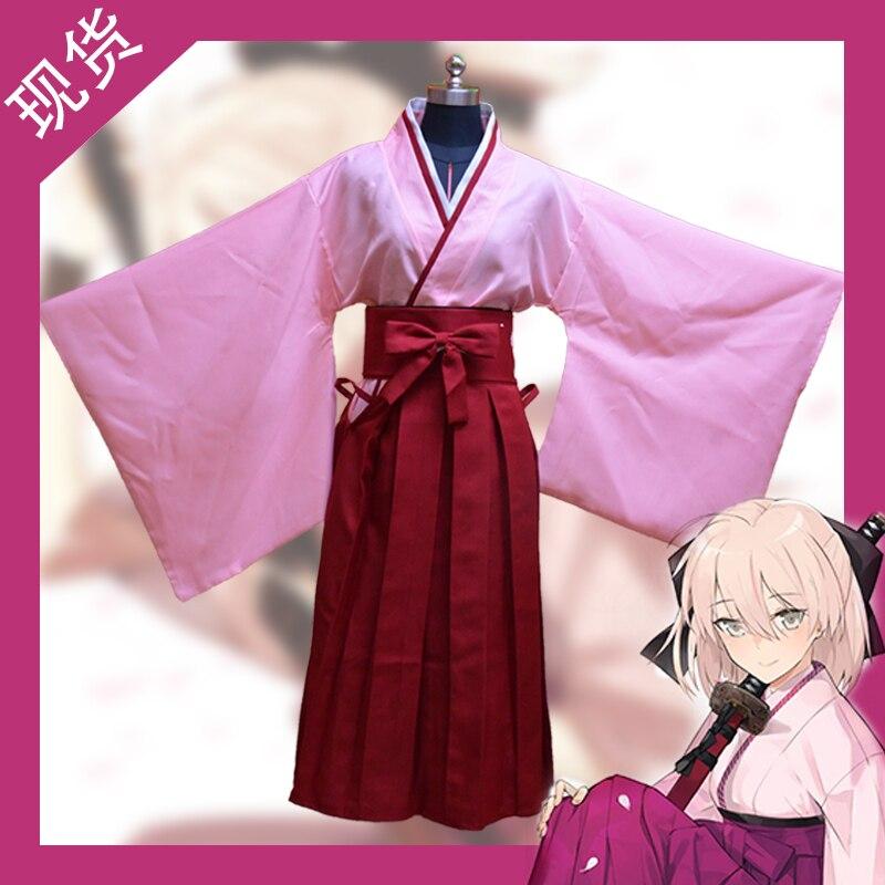 Dessin animé destin/Grand ordre dessin animé cosplay Halloween cos Okita Souji sabre unisexe dessin animé japonais femme kimono costume