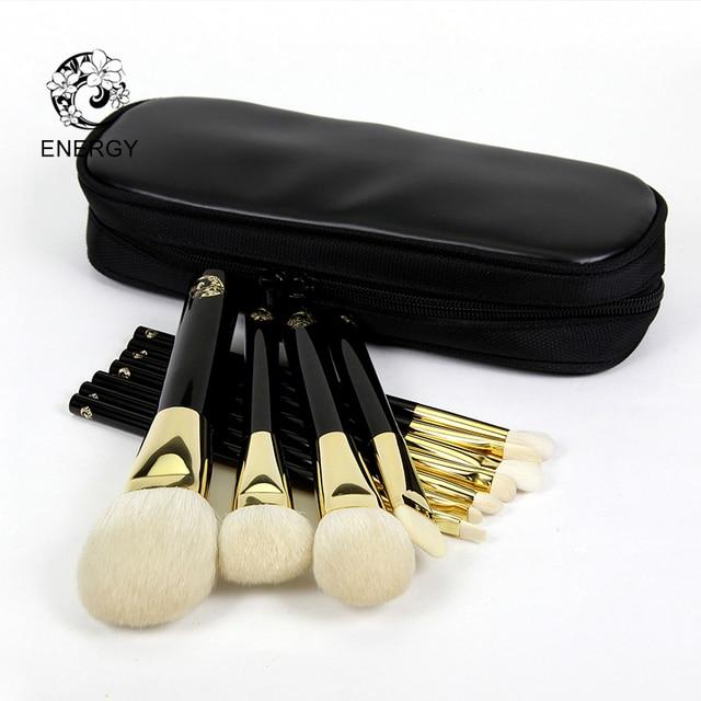 ENERGIE Merk 11 stks Professionele Makeup Brush Set Make Up Borstels Synthetisch Haar Aluminium Beentje Hout Handvat Pincel Maquiagem