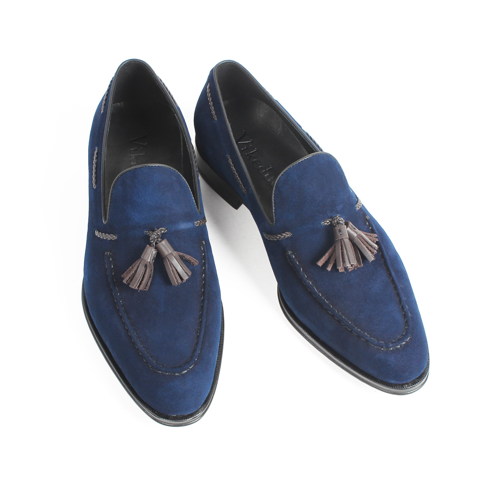 VIKEDUO 2019 Casual Loafer Shoes Kid Suede Blue Tassel Handmade Shoes Slip On Flat Men 39 s Footwear Patina Bespoke Zapatos Hombre in Men 39 s Casual Shoes from Shoes