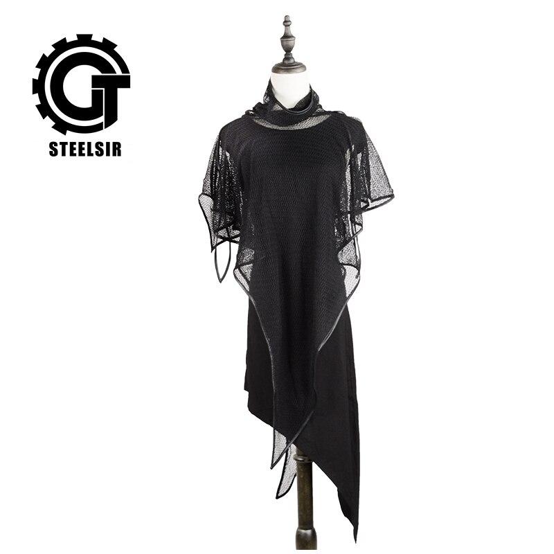 Rock asymétrique ourlet noir sans manches robe Midi longueur maille châle femmes Punk robes décontractées gothique soirée Club vêtements