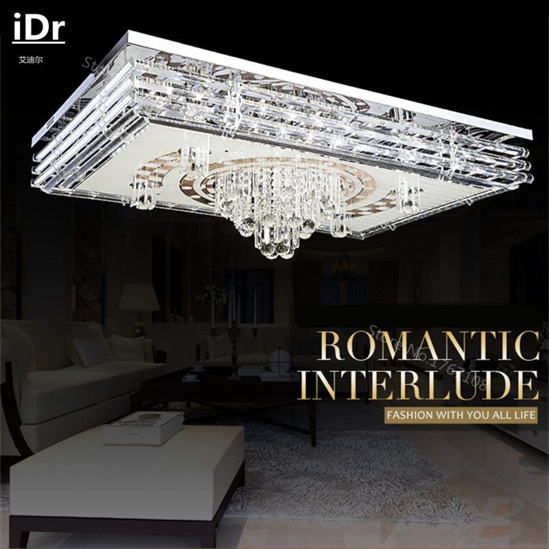 Low Pressure Flat Rectangular LED Crystal Light Ceiling Lamp Modern Minimalist Living Room Lighting IDr