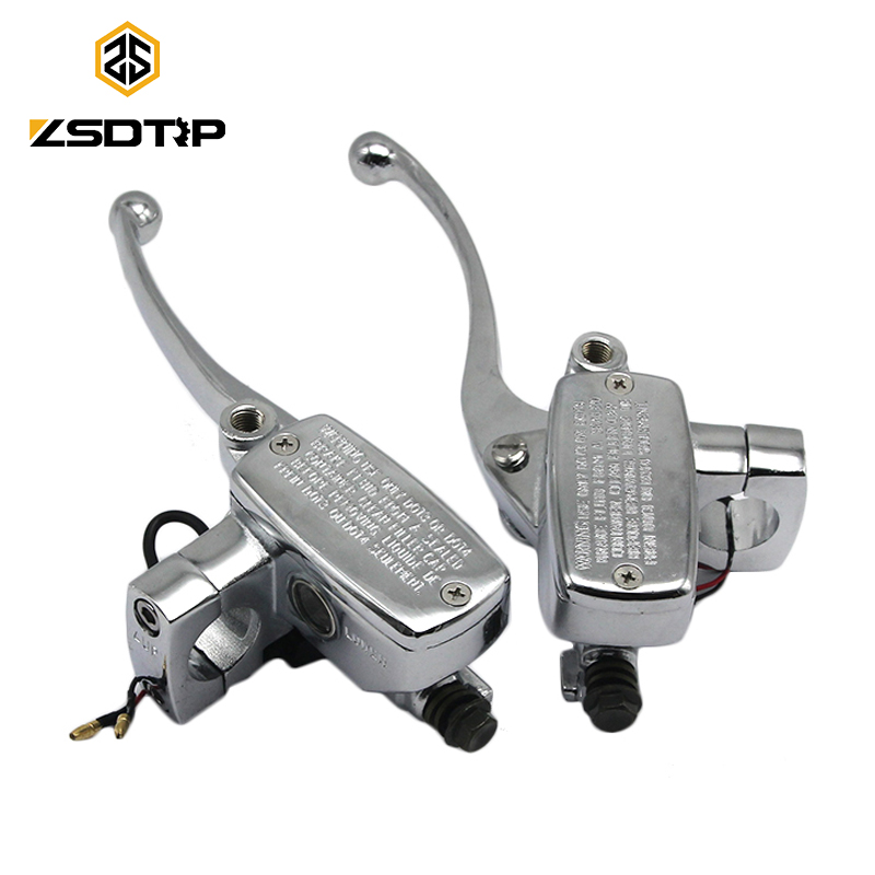 ZSDTRP 25mm Universal Chrome Motorcycle Brake Master Cylinder Hydraulic Clutch Lever Left & Right for KTM 250 300 400 450