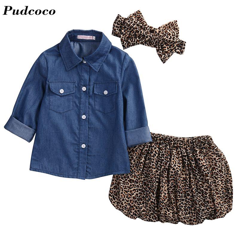 3PC Super Cute Toddler Baby Girls denim T shirt +Leopard skirt+headband Kids Clothes set Drop Shipping