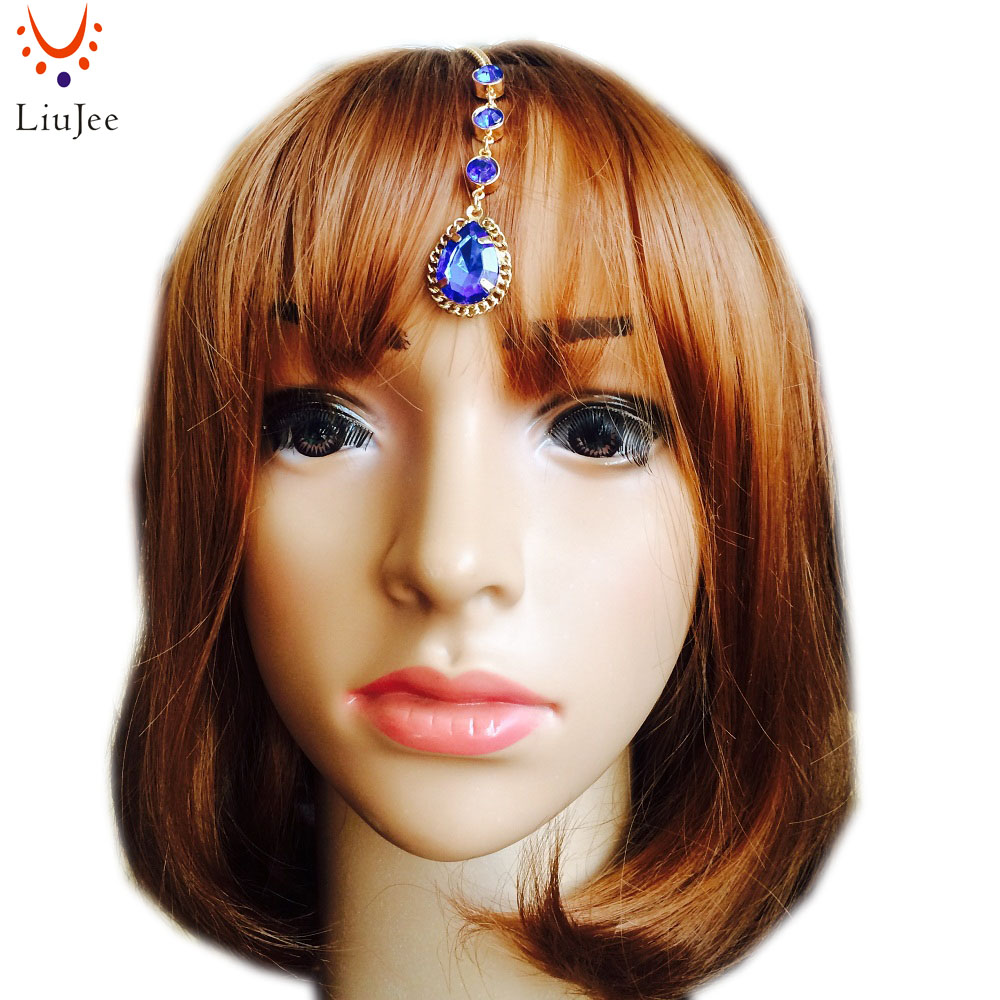 New Arrival Head Jewelry Gold Tone Red and Blue Drop Tikka Hair Clip Head Chain Hairpins Hair Grip KD006