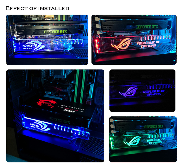 Prevent distortion graphics Card bracket faith symbol Acrylic support GPU holder White,Red,Green,Blue ,RGB Color drop shipping image