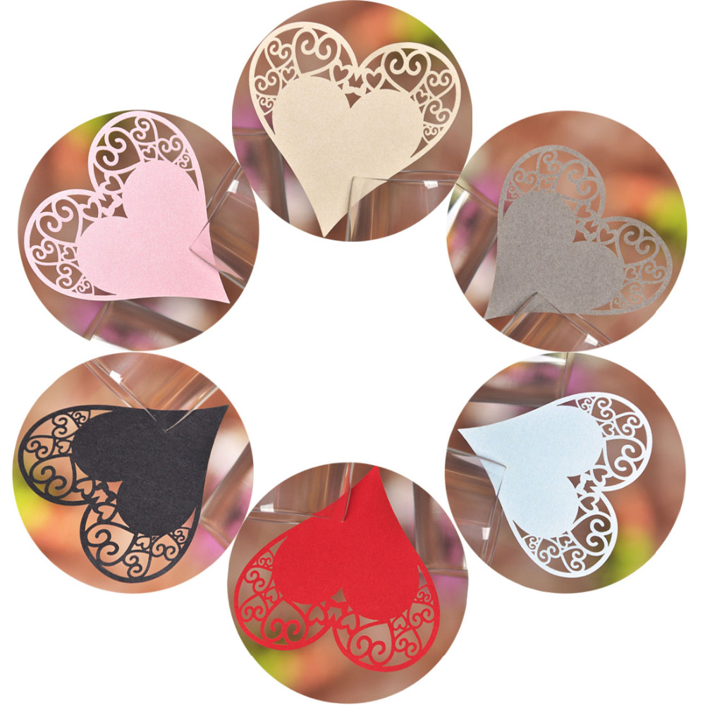 50pcs 9 Colors DIY Place Card Laser Cut Heart Shape Wedding Invitation Wine Glass Cup Paper Cards Name Card Wedding Party Decor