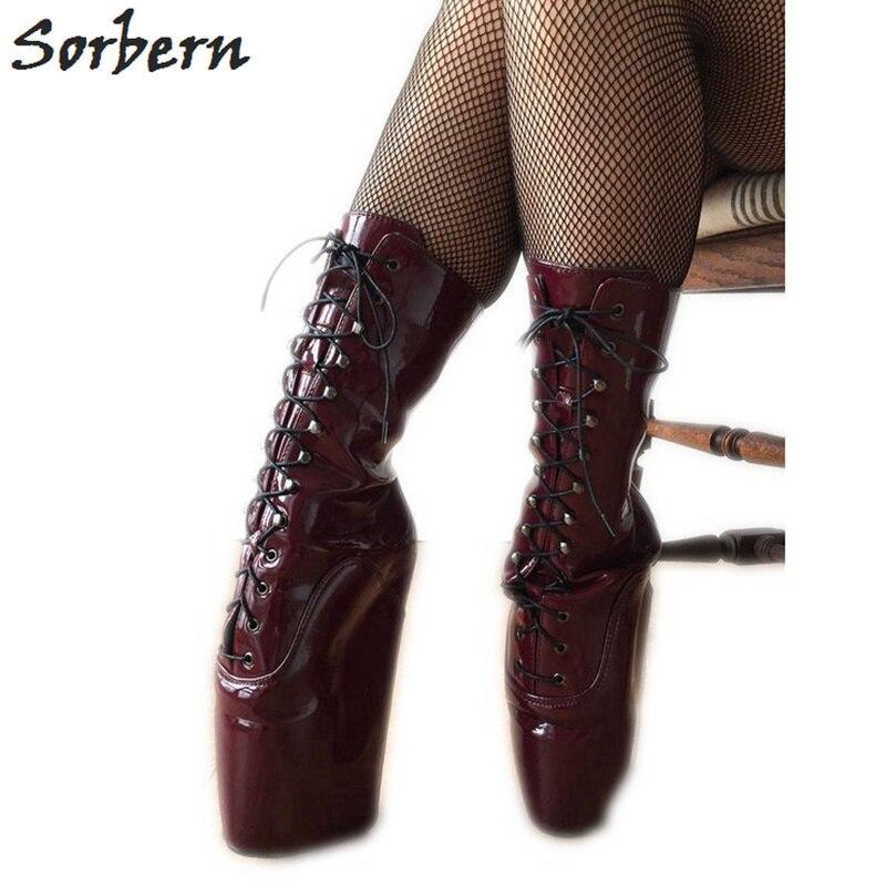 Sorbern Sexy fétiche talon Ballet bottes compensées pour les femmes cheville haut large sabot semelle Heelless fétiche Pointe entraînement Newbies bourgogne