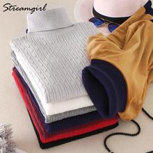 Sweter z golfem kobiet gruby sweter sweter z dzianiny swetry damskie zimowe 2019 z golfem aksamitna sweter Pull Femme swetry damskie tanie tanio z kamerą Poliester Akrylowe Kobiety Komputery dzianiny Pełna Stałe Regularne Brak Grube Na co dzień MY822 9 Kolorystyka i kolory