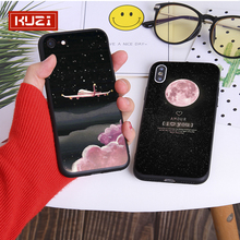 KUZI Space Pattern Case on For Coque Iphone 7 XS MAX Soft TPU Back Cover for 6 6S 8 Plus X XR