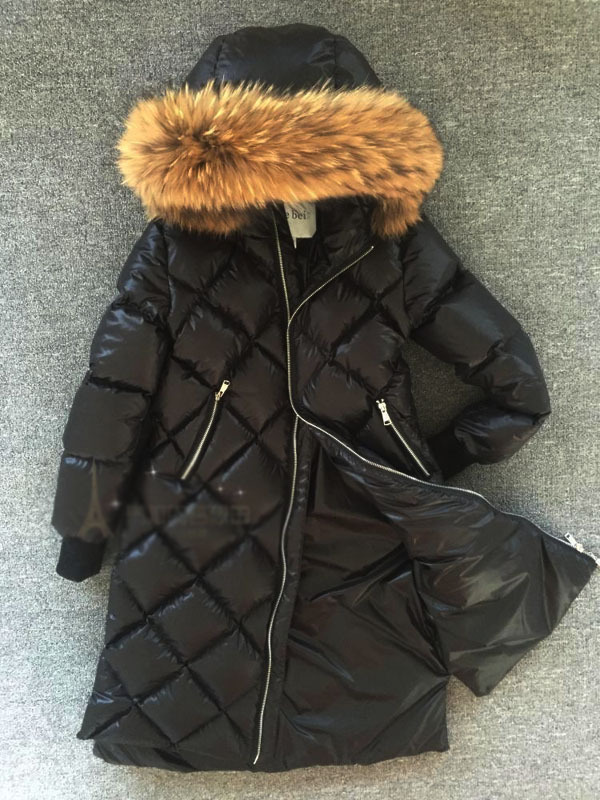Winter girl's new thick natural raccoon fur collar down jacket long down coat High quality цена