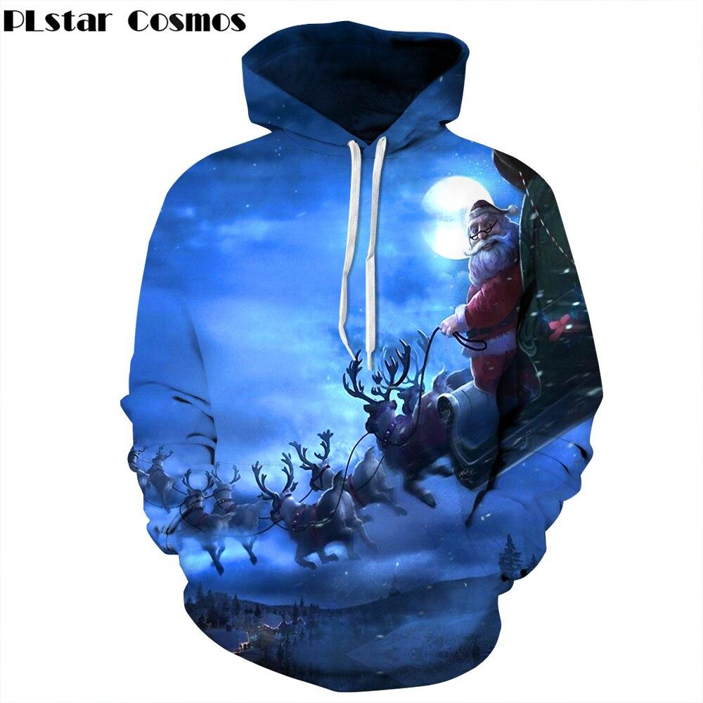 PLstar Cosmos 2018 new Fashion Christmas Gift Hoodies Men/Women casual Sweatshirts 3d Print Deer Santa Claus Hoodie Pullovers