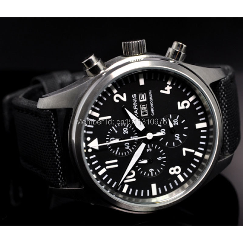 parnis black dial gun vintage style day date quartz Full chronograph mens watch 21 цена