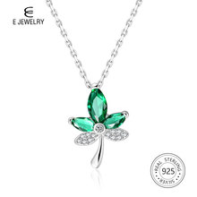 E Jewelry Green Maple Leaf 925 Sterling Silver Pendant Necklace with AAA Zircon Summer Adjustable Chain Necklaces for Women 2019