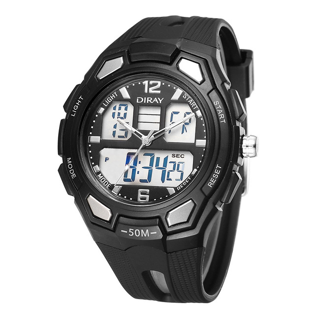 DIRAY Watch Men Watch Fashion Dual Display Sport Watches Waterproof Military Analog Digital Watch Hour Clock relogio masculino