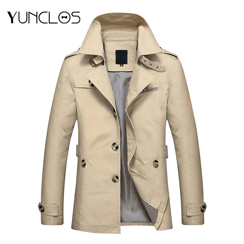 YUNCLOS Spring Autumn Mens Trench Coat Single-breasted Long Coat Windproof Slim Trench Coat For Men Plus Size Overcoat