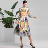 High quality spring/summer fashion long-sleeved shirt Two Pieces Set Women's lapel beaded shirt+elegant print Mid-Calf Skirt Set