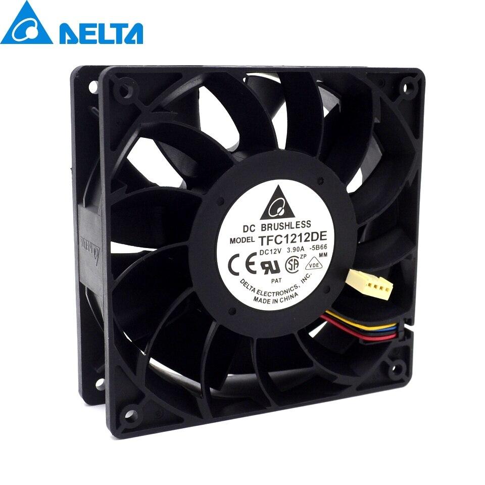 1 pcs TFC1212DE 120mm DC 12 V 5200 RPM 252CFM Pour Bitcoin Mineur Puissant Serveur Cas AXIAL de refroidissement