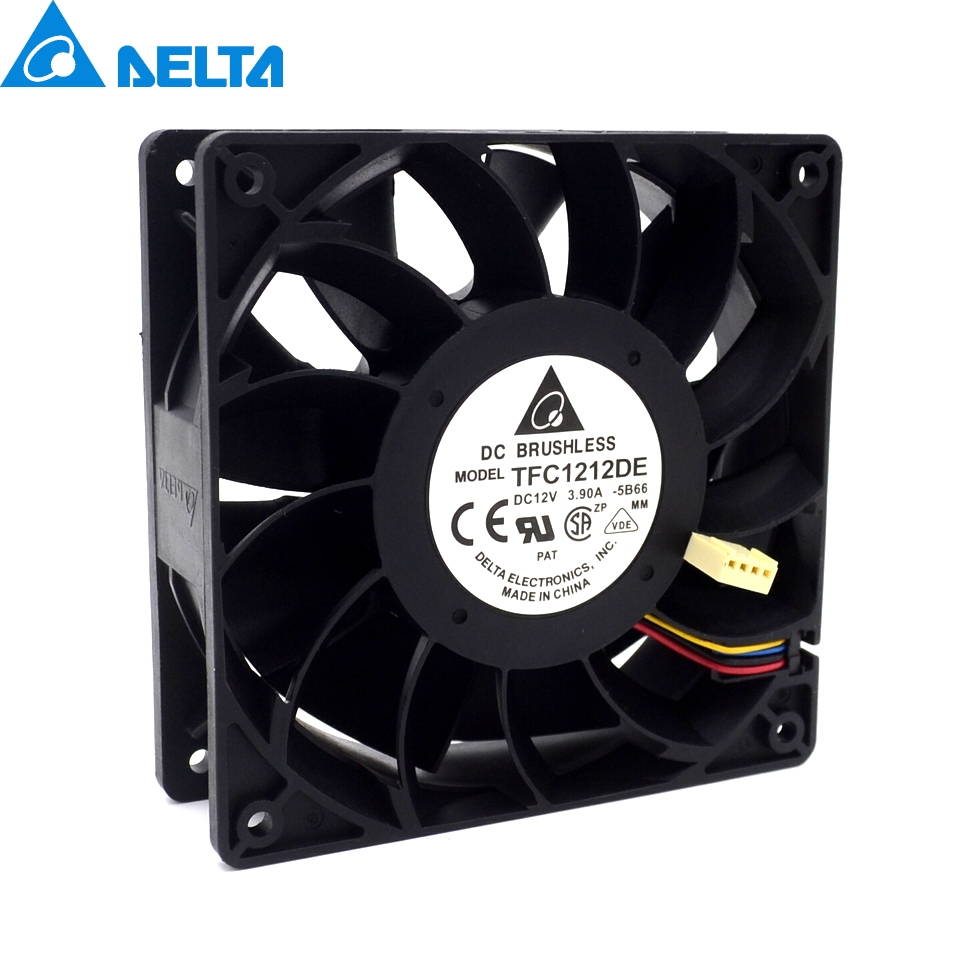 1pcs TFC1212DE 120mm DC 12V 5200RPM 252CFM For Bitcoin Miner Powerful Server Case AXIAL cooling