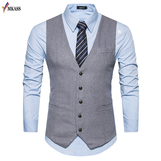 4c3fdb66271 2017 New Men Vests Suit V-neck Business Vest Wedding Formal gilet homme Men  Classic Vest Waistcoat Size S-XXL